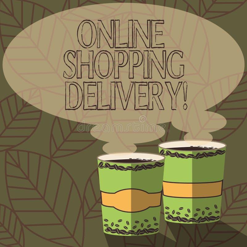 Écrivant à apparence de note la livraison de achat en ligne Processus de présentation de photo d'affaires d'embarquer un article  illustration libre de droits
