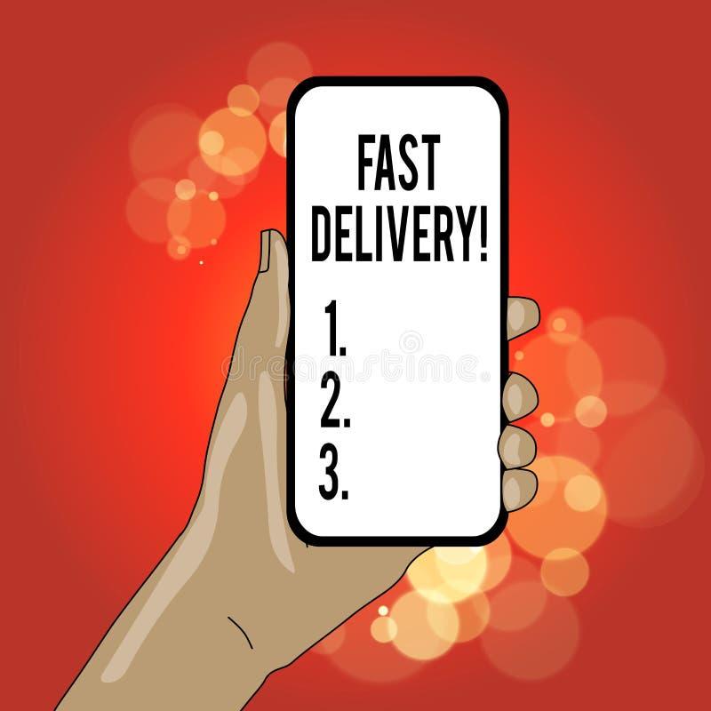 Écrivant à apparence de note la livraison rapide Photo d'affaires pr?sentant l'action expr?s de livrer des lettres, des colis, ou illustration de vecteur