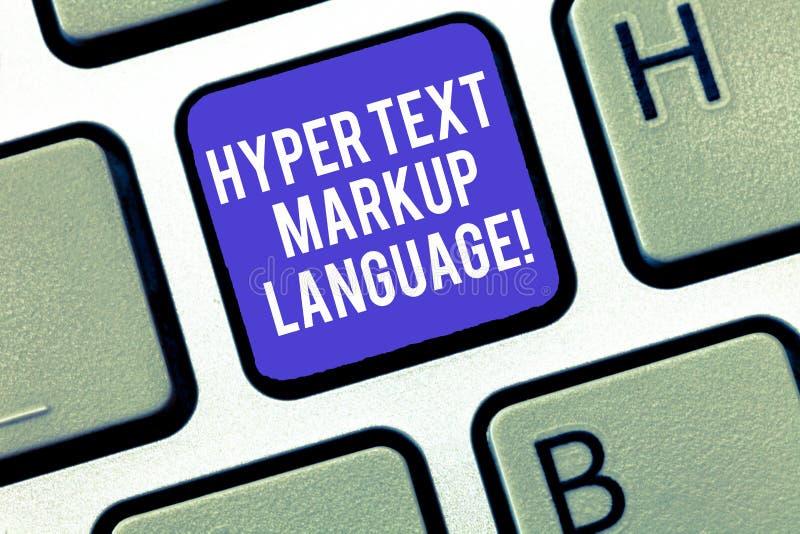 Écrivant à apparence de note le langage de balisage hyper des textes Photo d'affaires présentant des langues standard pour la cré image libre de droits