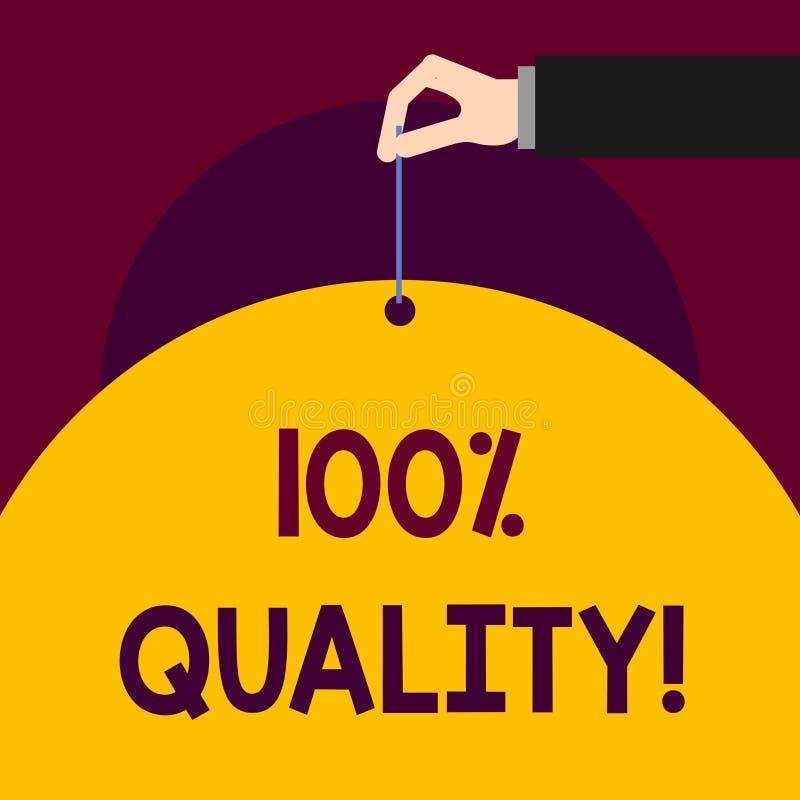 Écrivant à apparence de note 100 pour cent de qualité Photo d'affaires ne présentant produit chimique pur et aucun nocif garanti  illustration de vecteur