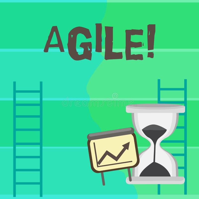 Écrivant l'apparence de note agile La présentation de photo d'affaires développent une agilité vers l'échelle de croissance d'évo illustration libre de droits