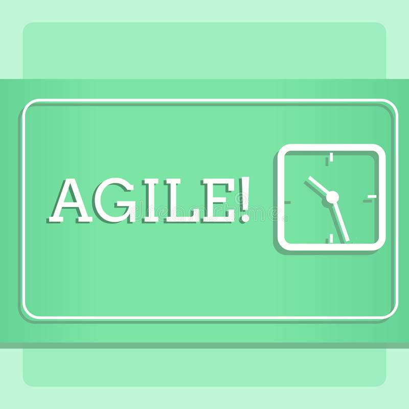 Écrivant l'apparence de note agile La présentation de photo d'affaires développent une agilité vers la conception moderne d'évolu illustration stock