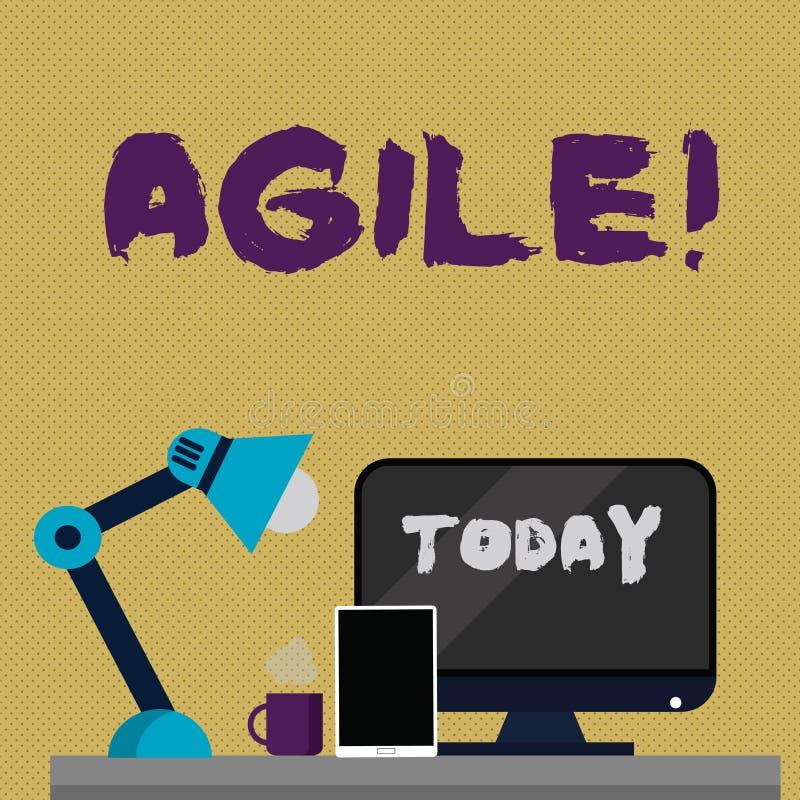 Écrivant l'apparence de note agile La présentation de photo d'affaires développent une agilité vers la disposition d'évolution te illustration de vecteur
