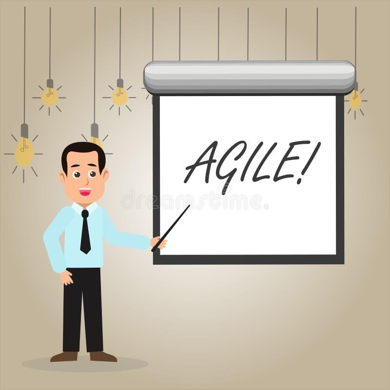 Écrivant l'apparence de note agile La présentation de photo d'affaires développent une agilité vers l'homme d'évolution technolog illustration stock