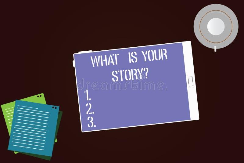 Écrivant l'apparence de note ce qui est votre Storyquestion La présentation de photo d'affaires nous indiquent vos expériences de illustration de vecteur