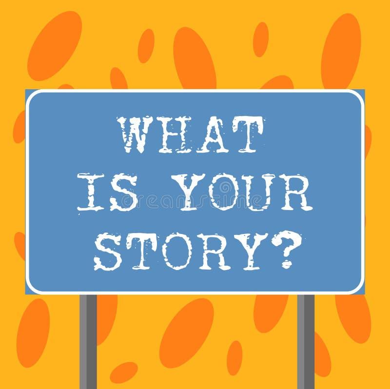 Écrivant l'apparence de note ce qui est votre Storyquestion La présentation de photo d'affaires nous indiquent vos expériences de illustration stock