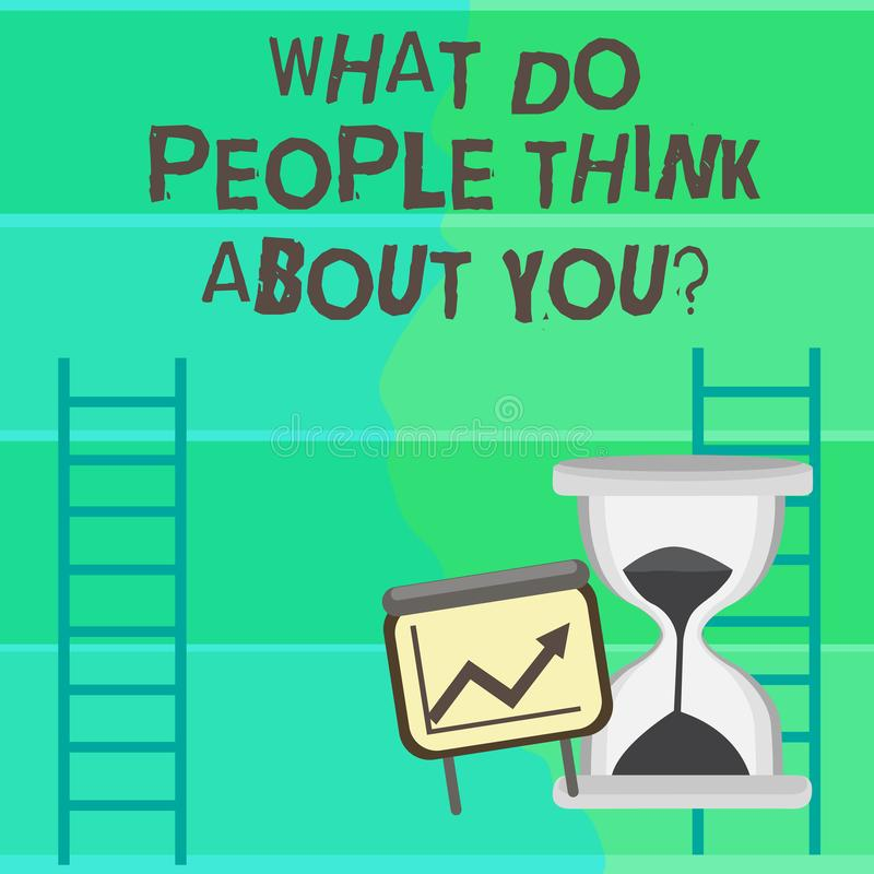 Écrivant l'apparence de note ce qui les gens pensent à Youquestion La photo d'affaires présentant ceci est comment d'autres vous  illustration stock