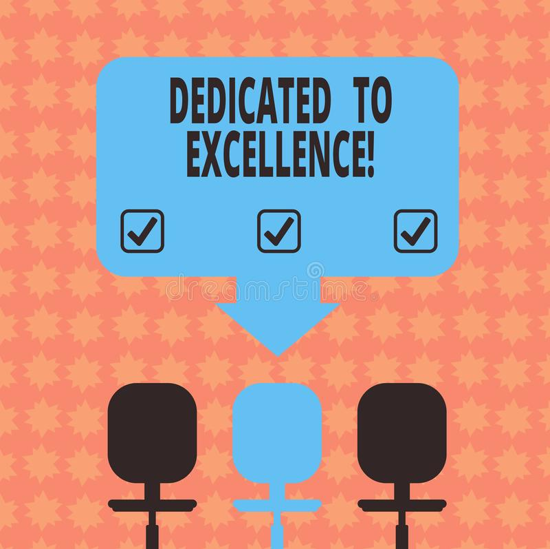 Écrivant l'apparence de note consacrée à l'excellence Photo d'affaires présentant un engagement ou une promesse de faire quelque  illustration de vecteur