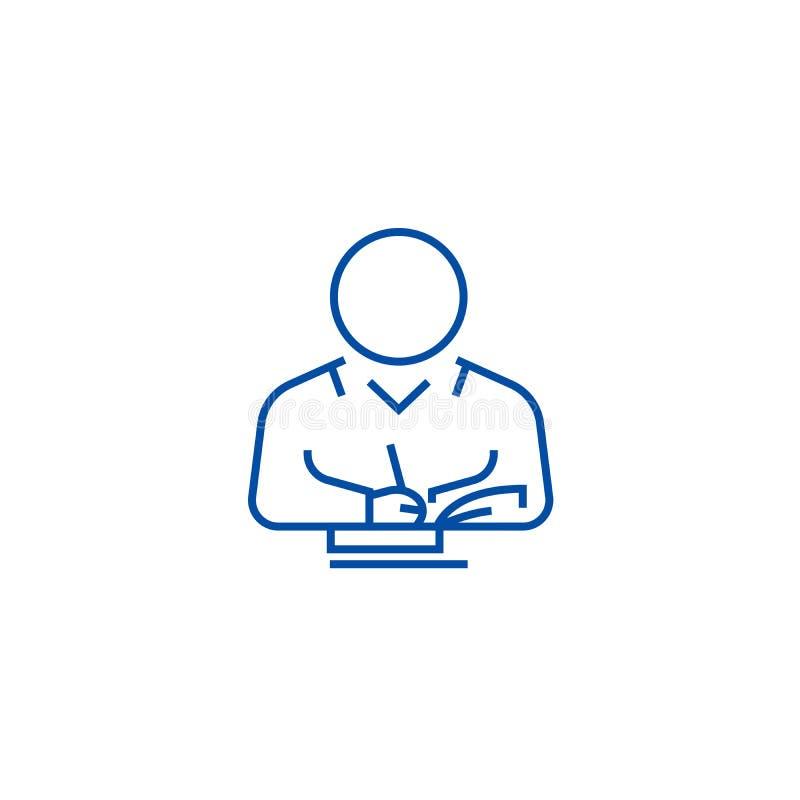 Écrivant la ligne d'utilisateur concept d'icône Écrivant à utilisateur le symbole plat de vecteur, signe, illustration d'ensemble illustration libre de droits