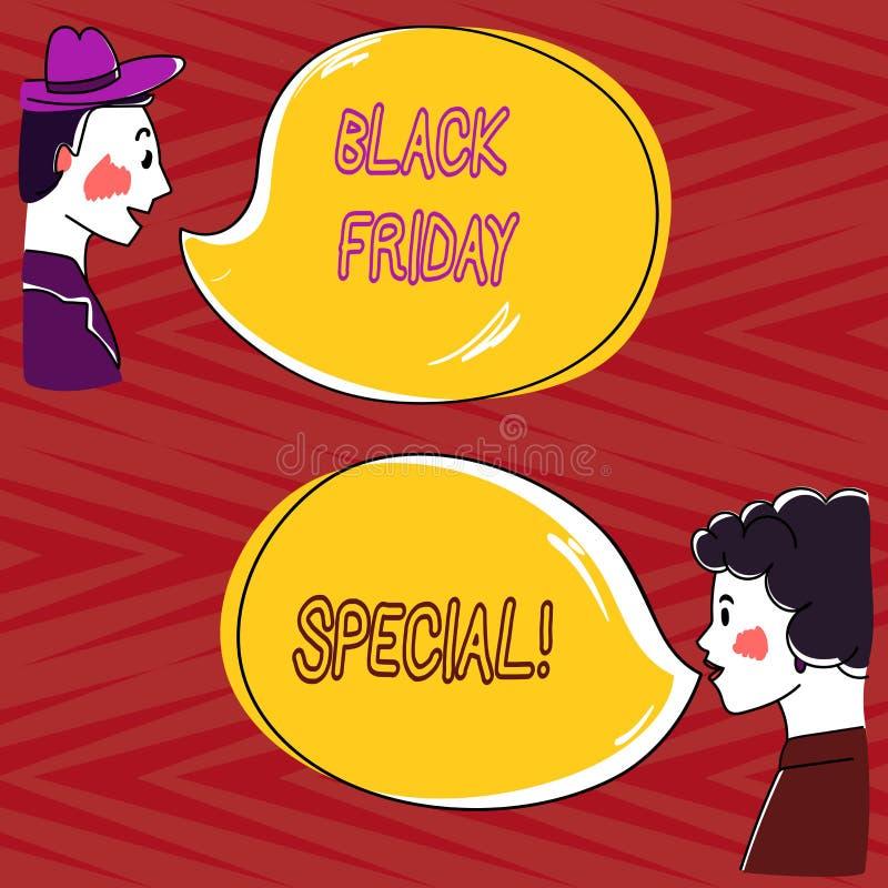 Écrivant la note montrant Black Friday spécial Photo d'affaires présentant le jour après OE fol de main de saison d'achats de ven illustration libre de droits