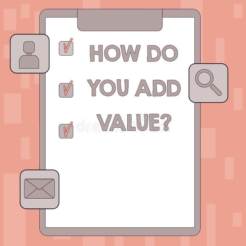 Écrivant la note montrant comment vous ajoutez Valuequestion La présentation de photo d'affaires apportent le progrès d'affaires  illustration de vecteur