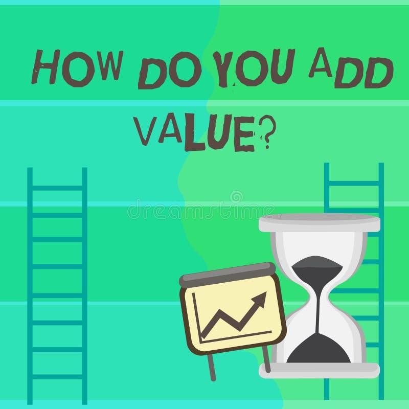 Écrivant la note montrant comment vous ajoutez Valuequestion La présentation de photo d'affaires apportent le progrès d'affaires  illustration stock