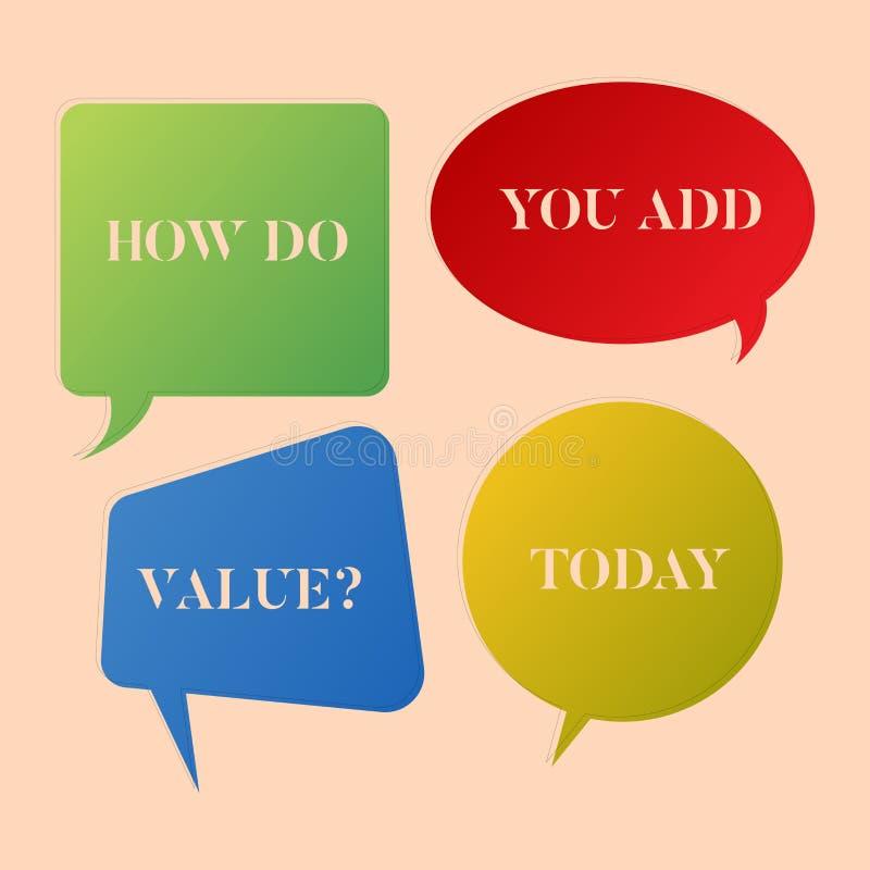 Écrivant la note montrant comment vous ajoutez Valuequestion La présentation de photo d'affaires apportent le progrès d'affaires  illustration libre de droits