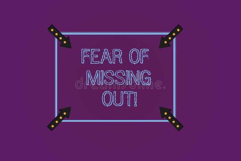 Écrivant la note montrant la crainte de manquer  La présentation de photo d'affaires effrayée de perdre quelque chose ou quelqu'u illustration libre de droits