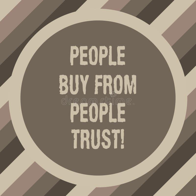 Écrivant la note montrant des personnes pour acheter des personnes elles font confiance à la confiance de construction de présent illustration de vecteur