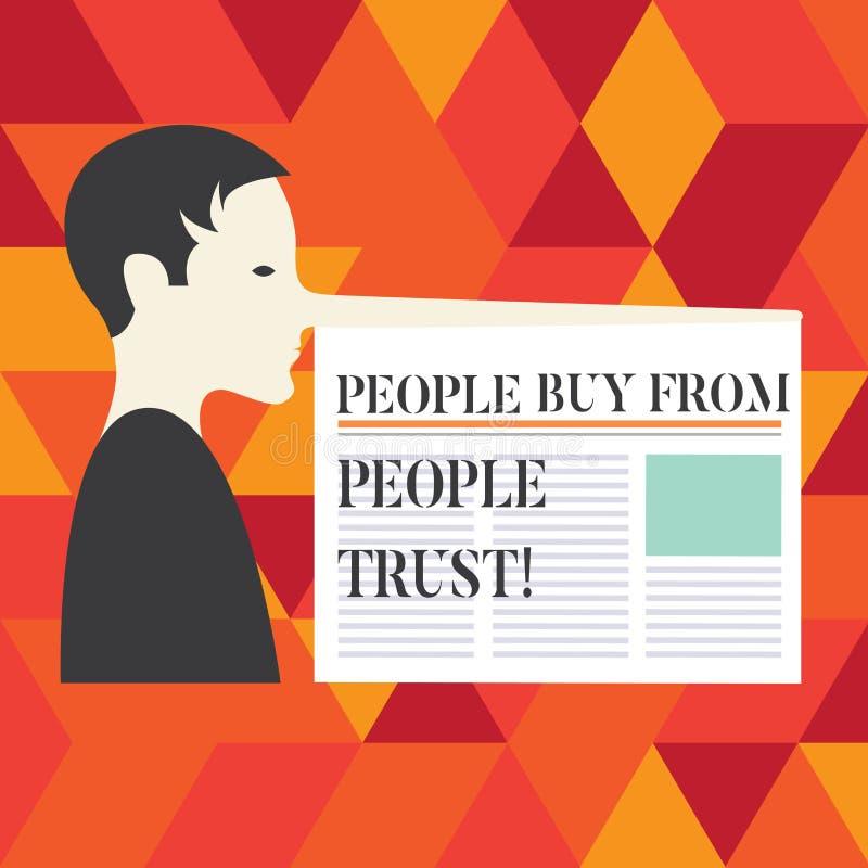 Écrivant la note montrant des personnes pour acheter des personnes elles font confiance à la confiance de construction de présent illustration libre de droits