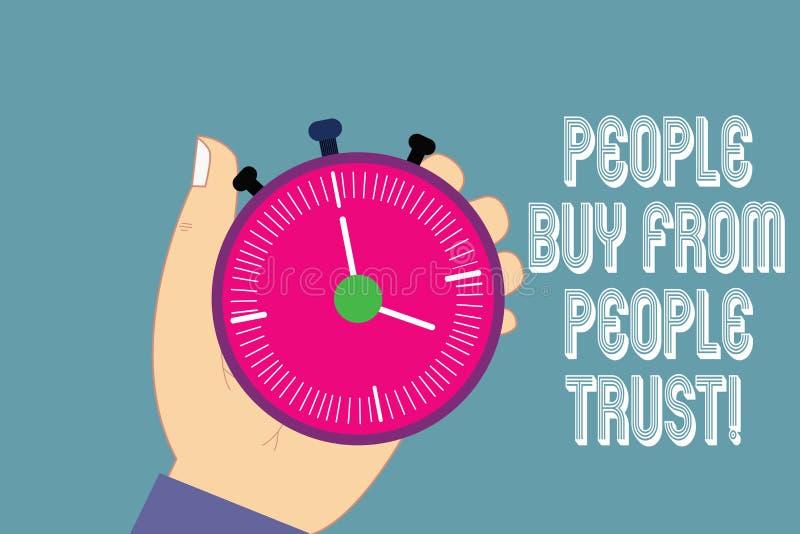 Écrivant la note montrant des personnes pour acheter des personnes elles font confiance à la confiance de construction de présent illustration stock