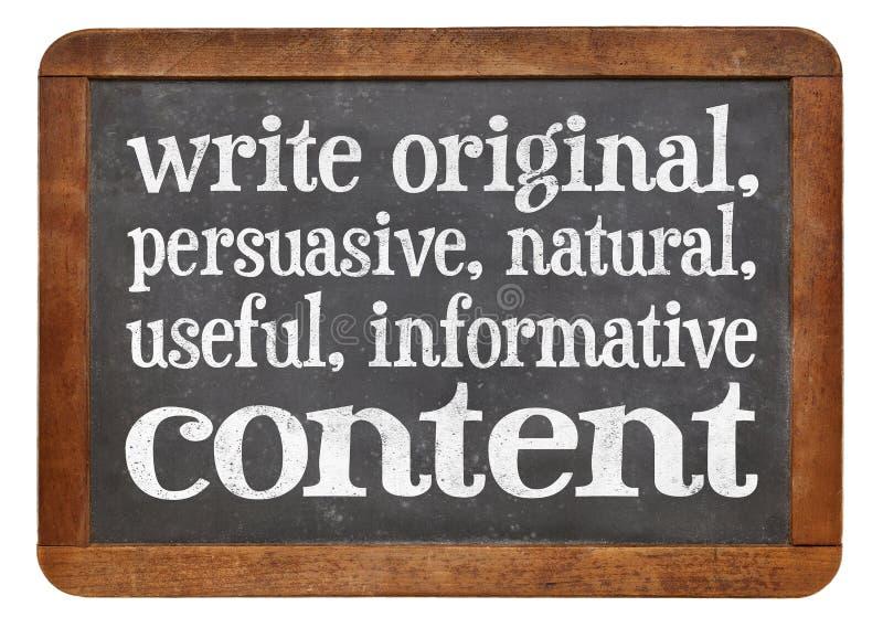 Écrivez conctent original, utile, instructif images libres de droits