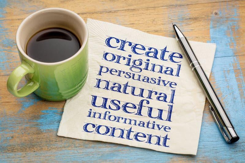 Écrivez conctent original, utile, instructif photographie stock