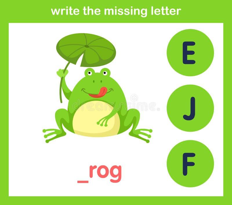 Écrivez la lettre absente illustration libre de droits