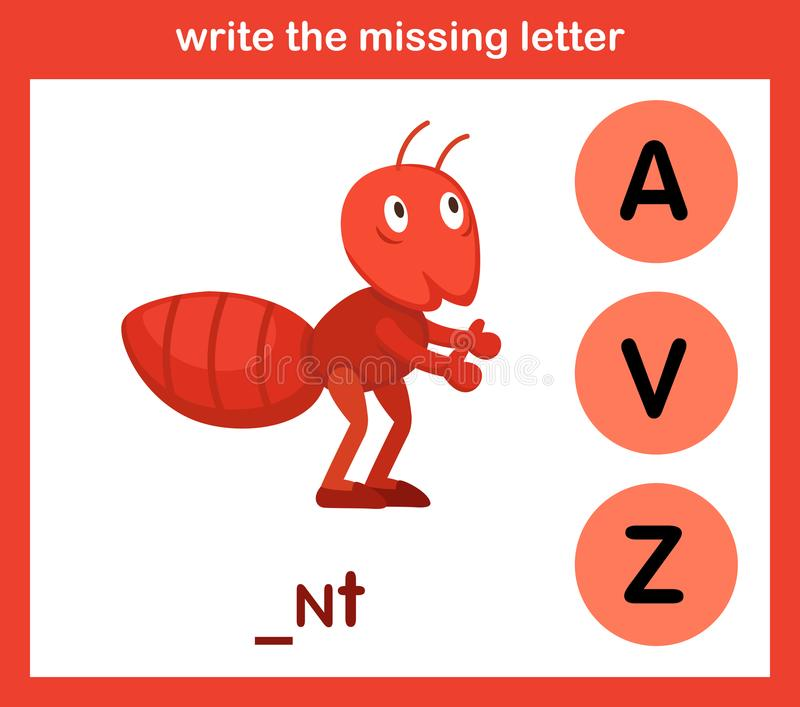 Écrivez la lettre absente illustration de vecteur