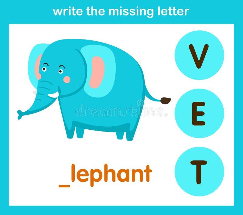 Écrivez la lettre absente illustration stock