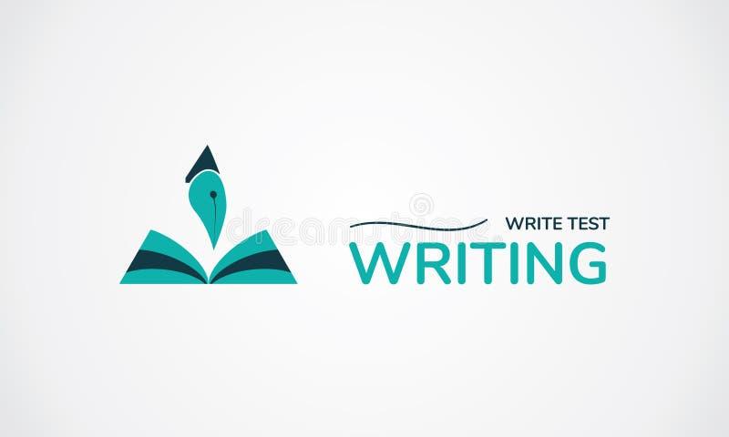 Écrivez le logo d'essai Livre et stylo créatifs de symbole illustration libre de droits