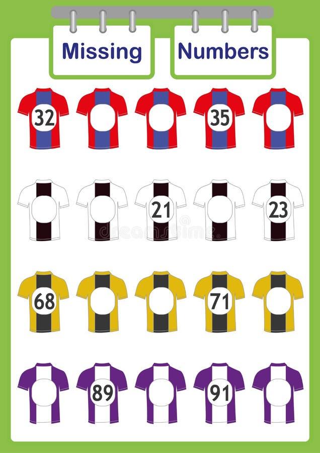 écrivez les nombres absents, maths pour des enfants, comptant le jeu éducatif pour des enfants illustration stock