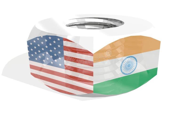 Écrou avec des drapeaux illustration de vecteur