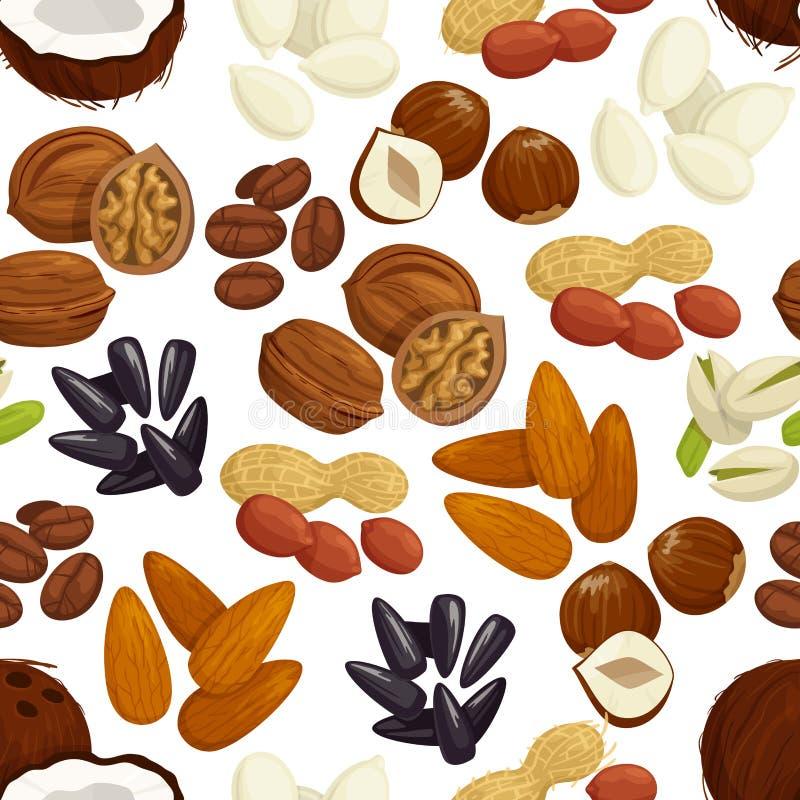 Écrou, haricot, graine, fond sans couture de modèle de grain illustration stock