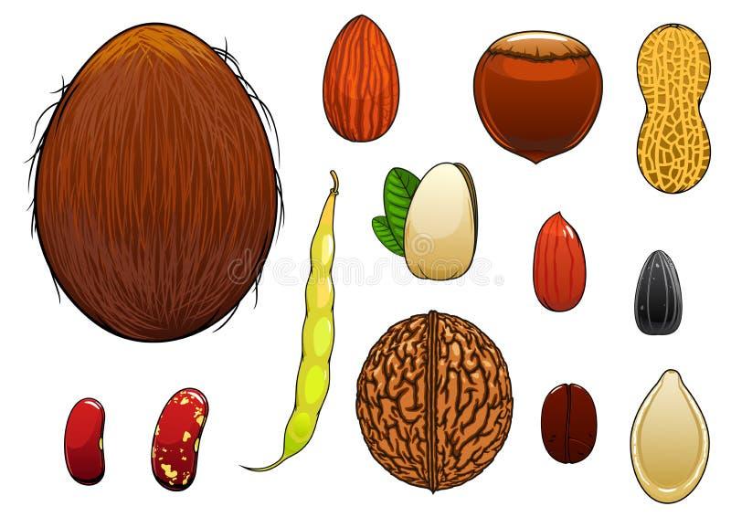 Écrous, graines et haricots réalistes dans le style de bande dessinée illustration libre de droits