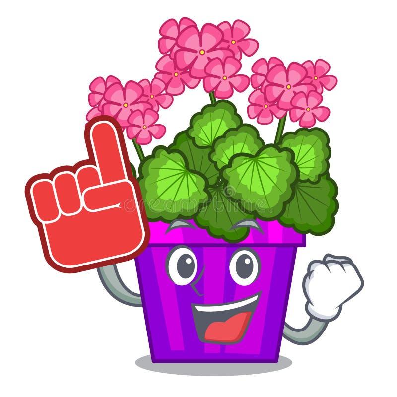 Écument les fleurs de géranium de doigt dans la forme de bande dessinée illustration de vecteur