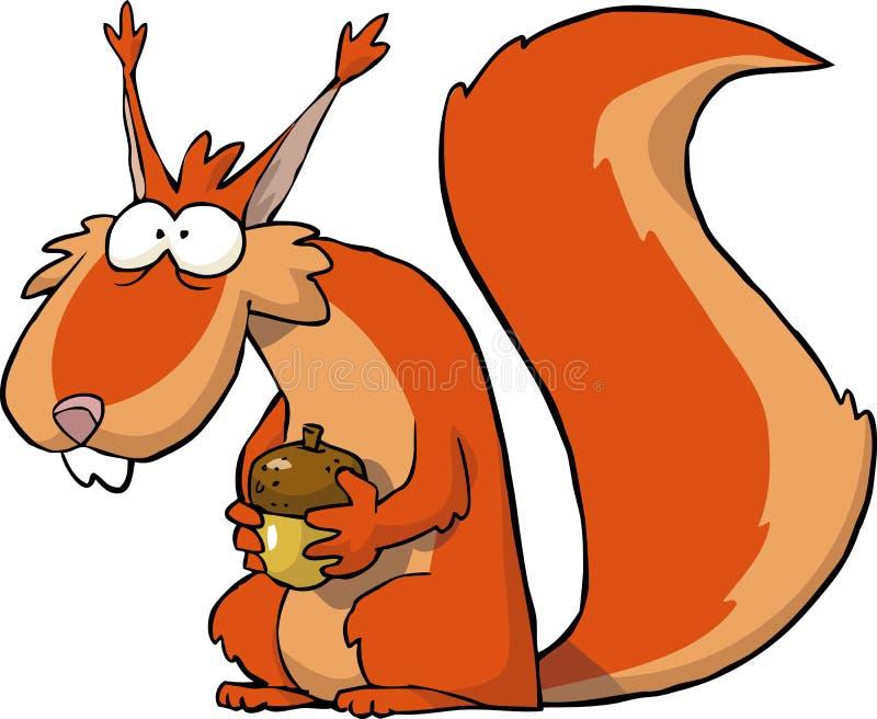 Écureuil avec des glands illustration de vecteur