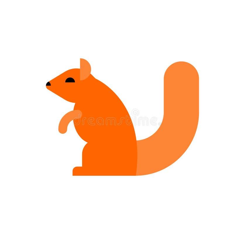 Écureuil d'isolement Rongeur sur le fond blanc illustration de vecteur