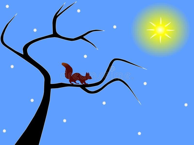 Écureuil sur un arbre nu d'hiver illustration libre de droits