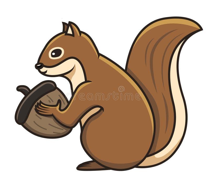 Écureuil tenant une illustration de vecteur de gland photographie stock