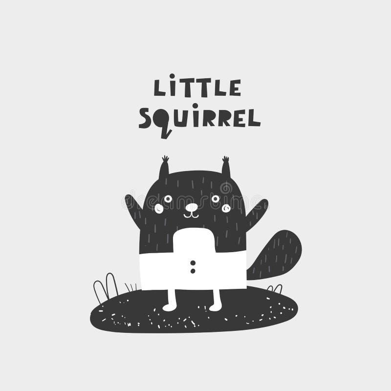 Écureuil tiré par la main mignon de griffonnage avec marquer avec des lettres la citation Carte postale, bannière, copie de mur,  illustration de vecteur