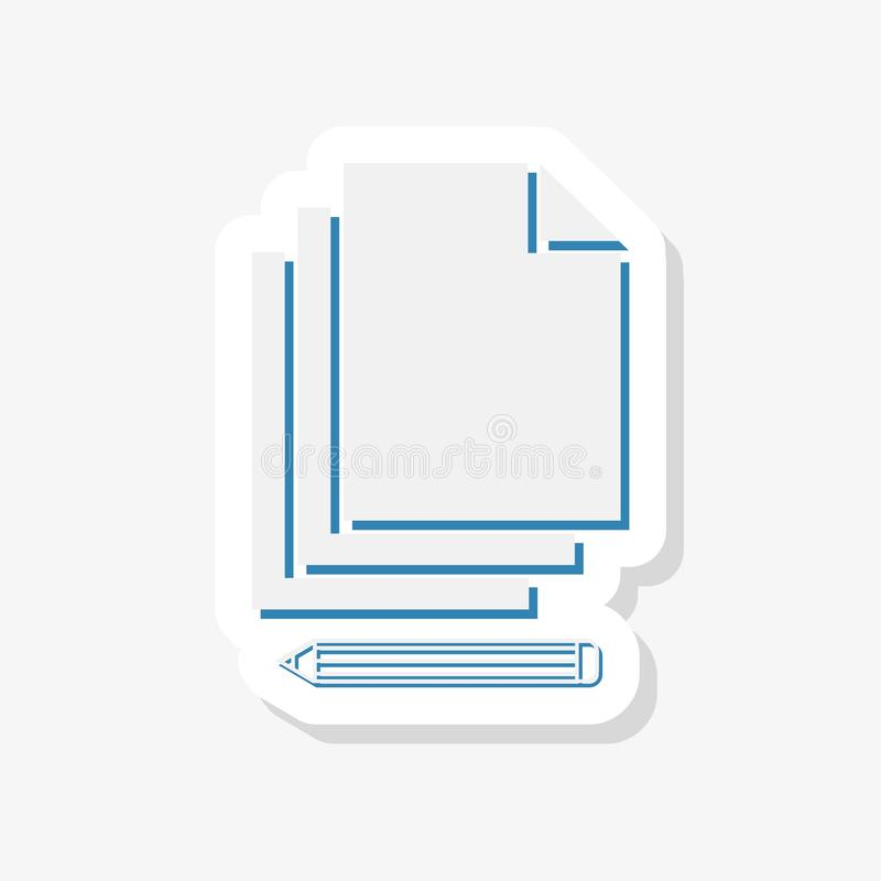 Éditez l'autocollant d'icône de document dans le style plat moderne pour le Web illustration libre de droits