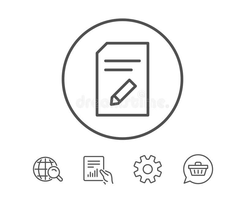 Éditez la ligne icône de document Signe de dossier illustration libre de droits