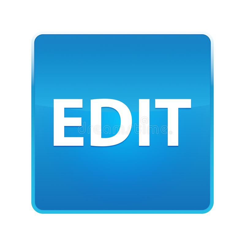 Éditez le bouton carré bleu brillant illustration libre de droits
