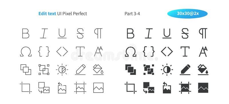 Éditez le pixel des textes UI le vecteur Bien-ouvré que parfait rayent légèrement et la grille 2x solide des icônes 30 pour des g illustration de vecteur