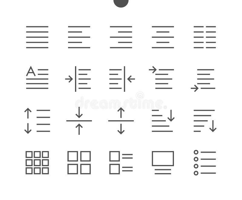 Éditez le pixel des textes le vecteur Bien-ouvré que parfait rayent légèrement des icônes illustration de vecteur