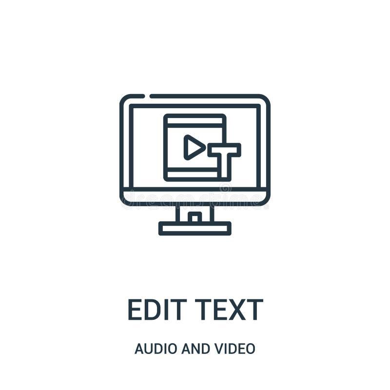éditez le vecteur d'icône des textes de la collection audio et visuelle La ligne mince éditent l'illustration de vecteur d'icône  illustration libre de droits