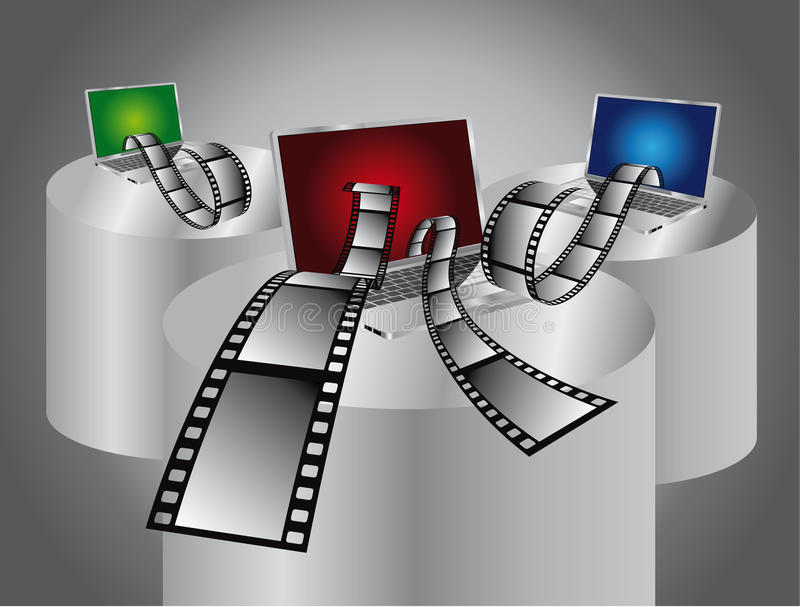 Édition de film d'ordinateur   illustration stock