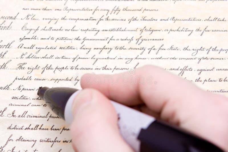 Édition du quatrième repère de constitution des USA d'amendement photographie stock libre de droits