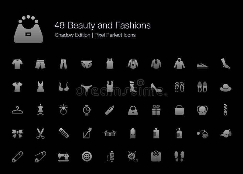 Édition parfaite d'ombre d'icônes de pixel de beauté et de modes illustration stock