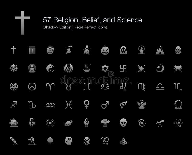 Édition parfaite d'ombre d'icônes de pixel de la Science de croyance de religions illustration libre de droits