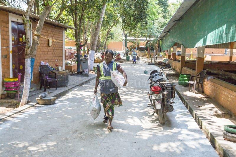 Éditorial documentaire PUDUCHERY, PONDICHERY, TAMIL NADU, INDE - mars vers, 2018 Les femmes indiennes assortissent des déchets da photographie stock libre de droits