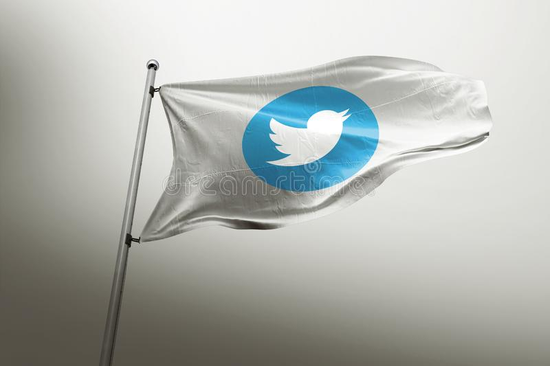 Éditorial photorealistic de drapeau de Twitter illustration de vecteur