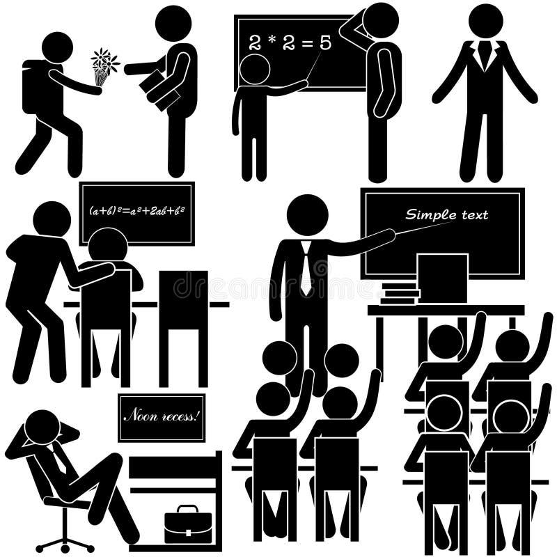 Éducation à l'école Jours de la semaine de professeur Ensemble de bâton illustration stock